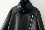 Long Sleeve Zipper Pocket Turn Down Collar Pu Leather Jacket