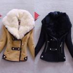 Biker Outerwear Warm Faux Splice Zipper Jacket