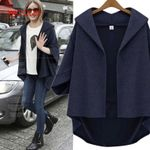 Turn-down Collar Short Sleeve Cardigan Woolen Jacket
