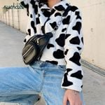 Zipper Casual Fur Coats Cow Print Teddy Jacket