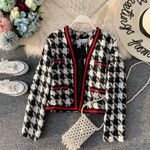 France Style Patchwork Tweed Loose  fashion Woolen Jacket