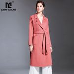 Turn Down Collar Lace Up Fashion Wool Elegant Front Pockets Coat