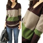 Casual V-neck Knitted Striped Pullovers Stitching Cashmere Sweater