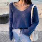 Pullover V-Neck Loose Long-sleeve Knitted Sweater