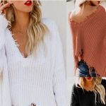 deep V-neck open navel fashion sexy casual sweater
