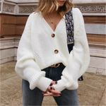 Coat Long Sleeve Loose Casual V-Neck Elegant Knitted Sweaters