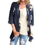 Cardigan  Floral Print Beach Chiffon Loose Shawl Kimono