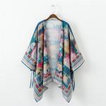 Cardigan Long Crochet Loose flora printed Casual Vintage Kimono
