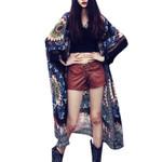 Blouse Chiffon Vintage Floral Print Long Cardigan Kimono