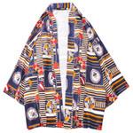 Casual Mid-Length Vintage Print Kimono