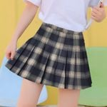 Short Plaid Button Basic Pleated Skirts