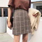 High Waist Plaid Woolen Casual Skirt