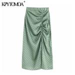 Fashion Elastic Waist Vintage Elegant Dot Pleated Skirt
