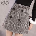 fashion High waist Skirt elegant Wool Plaid Skirt