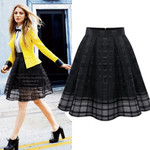 Zipper Elastic High Waist Plaid Mesh Vintage Skirts