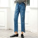Loose Ankle Length Ripped  Casual High Waist Straight Pants