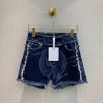Tassel Patchwork Bird Plant Print High Waist  Denim shorts