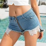 Fashion Sexy High Waist Booty Hole Denim Short