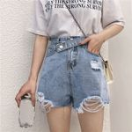 Wide Leg Elastic Waist Vintage High Waist Denim Shorts