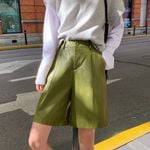 Fashion Straight PU Wide Leg Faux Leather High Waist Shorts
