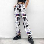 Print Wide Leg High Street Punk Cargo Pants