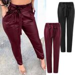 High Waist Slim Pencil Casual Skinny Fashion PU Leather Pants