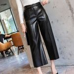 With Belt High Waist Wide Leg Faux PU Leather Pants