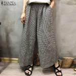 Wide Leg Casual Plaid Check Pockets Cotton Linen Pants