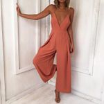 V Neck Backless Hollow Out Loose Party Jumpsuit