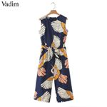 bow tie sashes pockets sleeveless  cute crane print jumpsuits