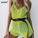 Mesh Sexy See Through Beachwear Overalls Romper