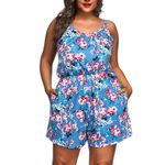 Ruched Overalls Short Print Sleeveless V-Neck Rompers