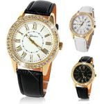 Crystal Luxury Leather Strap Quartz Wrist Watch
