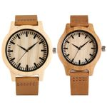 Genuine Leather Band Strap  Modern Wrist Wooden Watch
