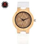 Natural Quartz Elegant Genuine Leather Strap Wood Watch