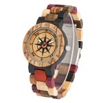 Compass Dial Colorful Wooden Watches