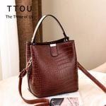 Casual Shoulder Retro Crocodile Bucket Pattern Handbag