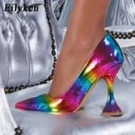 Rainbow Pumps Pointed Toe High Heels