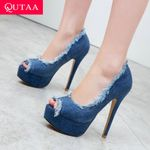 Peep Toe Denim Tassel Fashion Slip on  Pumps Thin Super High Heel