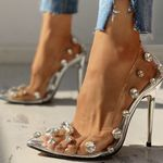 Pointed Toe Pumps crystals Slip On Sexy thin High Heels