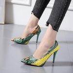 Pumps Pointed Plaid Shallow High Thin Heels