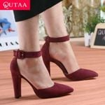 Pointed Toe Pumps Fashion Square High Heel