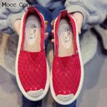Lace Casual Loafers Breathable Air Mesh Soft Fashion Flats Shoes