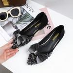 Leather Rhinestone Bow Pointed Toe Flat Shoes