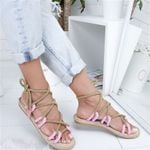 Casuals Lace Up Hemp Rope Cross Tied Sandals