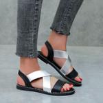 Glitter PU Leather Open Toe Classic Elastic Sandals
