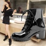 Oxford Plain Zipper Formal Ankle Rain Boots