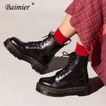 Lace Up Warm Plush  Patent Leather Ankle Boots