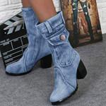 Slip-On Chunky Med Heels Mid-calf Denim Boots