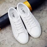 Leather Lace-Up Canvas Chunky Casual Shoes